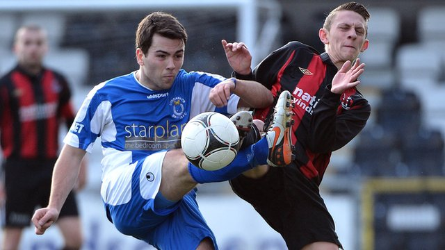 Match action from Crusaders against Dungannon at Seaview