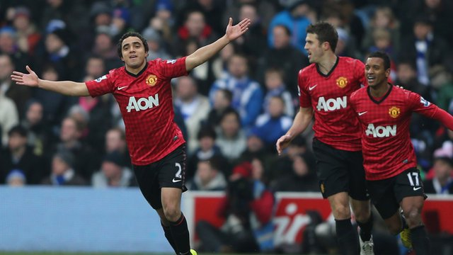 Rafael scores for Manchester United against QPR