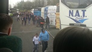 Scott Williams&#039;s view from the coach as thousands of fans stop for a break