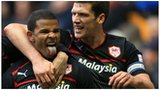 Fraizer Campbell celebrates his second goal with captain Mark Hudson