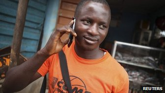 Man on the phone in Sierra Leone