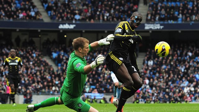 Manchester City's Joe Hart fouls Chelsea's Demba Ba