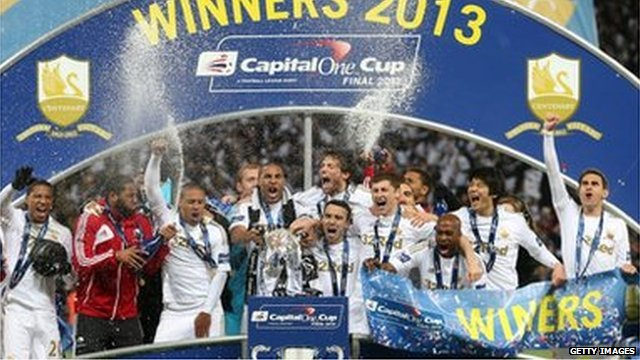 Swansea celebrate their historic win