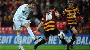 Michu of Swansea City score their second goal at Wembley
