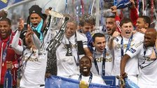 Swansea celebrate winning the 2013 Capital One Cup