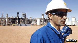 A British worker is seen at the Tiguentourine gas plant in In Amenas, 1,600 km (1,000 miles) south-east of Algiers, on 31 January 2013