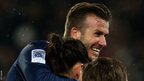 David Beckham celebrates with Zlatan Ibrahimovic after the Swede's goal - a move set-up by a deft pass from the 37-year-old's right boot - sealed a 2-0 victory against Marseille