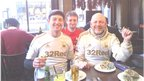 Three Swansea City fans Paul, Aled and Midge enjoying some Greek food at Covent Garden, before a few drinks in the Hercules Pillars