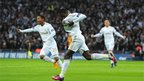 Swansea City&quot;s Nathan Dyer (centre) celebrates scoring their first goal of the game during the Capital One Cup Final match at Wembley