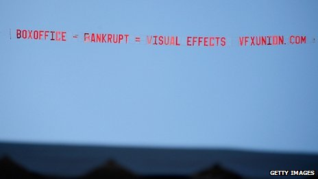 A banner highlighting the state of the visual effects industry was flown over the venue