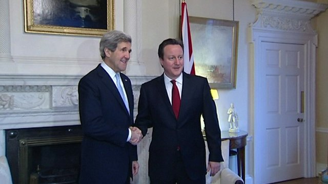 John Kerry shakes hands with David Cameron