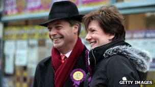 Nigel Farage with UKIP's candidate Diane James