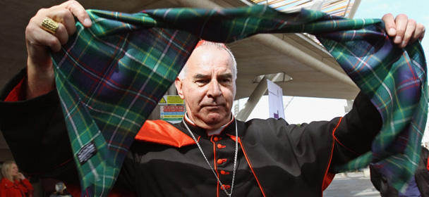Cardinal Keith O'Brien with Pope tartan