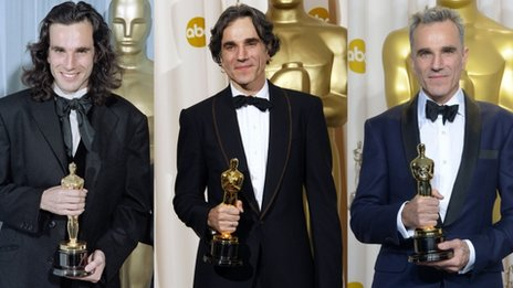 Daniel Day-Lewis in 1990, 2008 and 2013