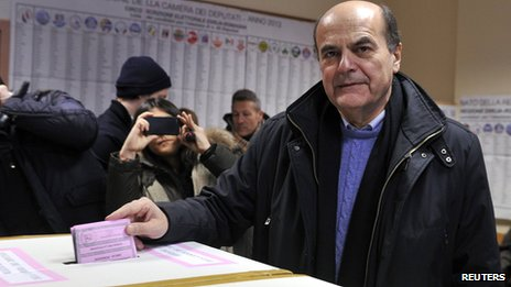 Pier Luigi Bersani voting on 24/2/13
