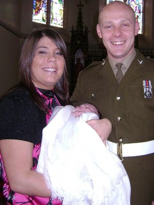 L/Cpl David Wilson with his fiancee Michelle Curry and daughter Poppy