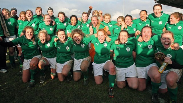 Ireland&#039;s women celebrate their first Triple Crown after beating Scotland at Lasswade 