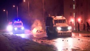 Loyalist flag protesters attacked police in the Rathcoole area of Newtownabbey on 8 December