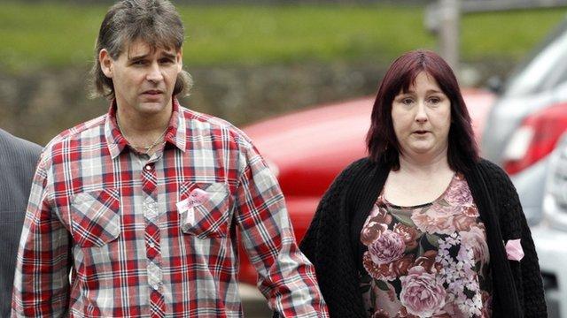 April's parents Paul and Coral Jones arrive for the court case