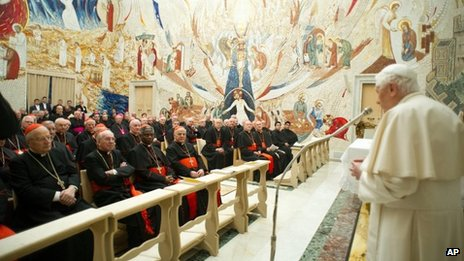 The Pope delivers his message concluding a weeklong spiritual retreat at the Vatican, 23 February 2013