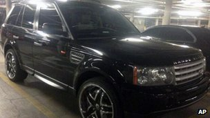 Black Range Rover Sport impounded in connection with a shooting and crash in Las Vegas, Nevada 23 February 2013