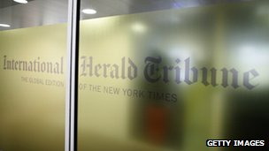 International Herald Tribune logo at the newspaper's Paris headquarters