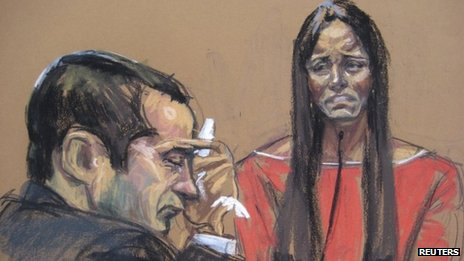 Court sketch of Gilberto Valle during his trial, while his wife, Kathleen Mangan-Valle, testifies against him in New York on 25 February 2013