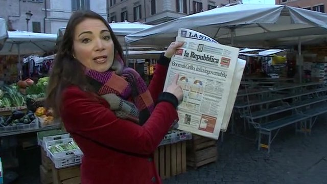 Katya Adler with Italian newspapers