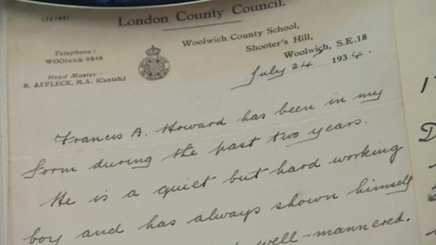 A school report of Frankie Howerd's dating back to 1934