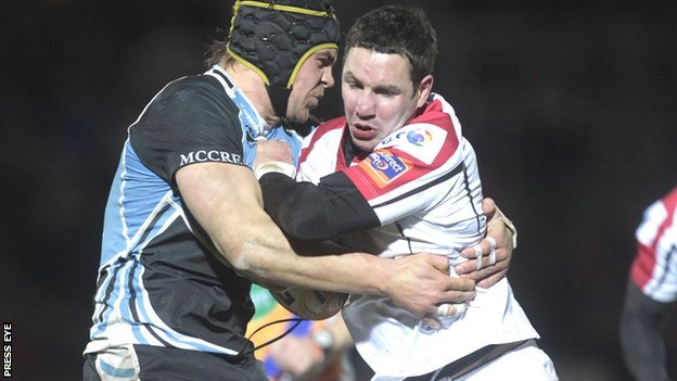 Glasgow's Tom Ryder tackles Paddy Wallace in Friday night's game