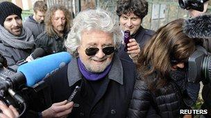 Beppe Grillo before casting his vote  in Genoa. 25 Feb 2013