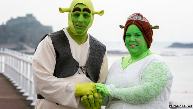 Paul and Heidi dressed up as Shrek and Fiona