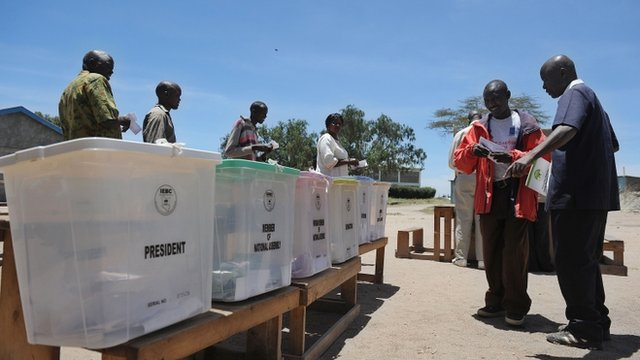 Kenyan voters take part in a mock-election at a polling station in Kajiad