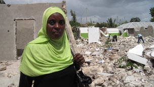 Mealii Ali points out her demolished home