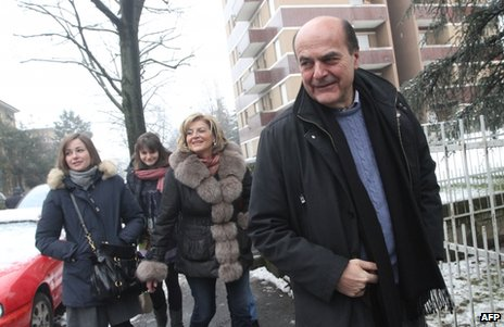 Pier Luigi Bersani voting with his wife and daughters on election day in Piacenza, Italy, 24 February