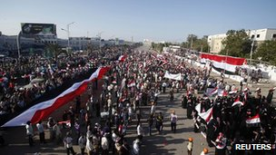 Rally in Aden celebrating first year in office of President Hadi. 21 Feb 2013