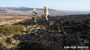 Heath land fire damage in the Isle of Man