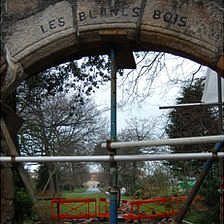 Repair work on Blanc Bois Archway