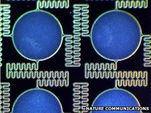Microscope image of battery elements and serpentine connections