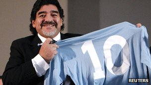 Diego Maradona with a number 10 shirt