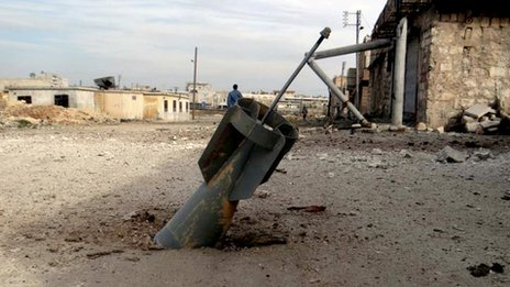 Unexploded rocket in Aleppo