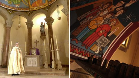 A composite image showing Father Ramon Borr and a close up of the ceiling of the dome in his church