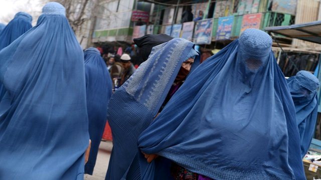 Burqa-clad Afghan women in Kabul 