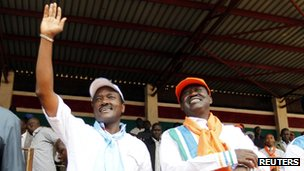 Kalonzo Musyoka and Raila Odinga on 2 February 2013