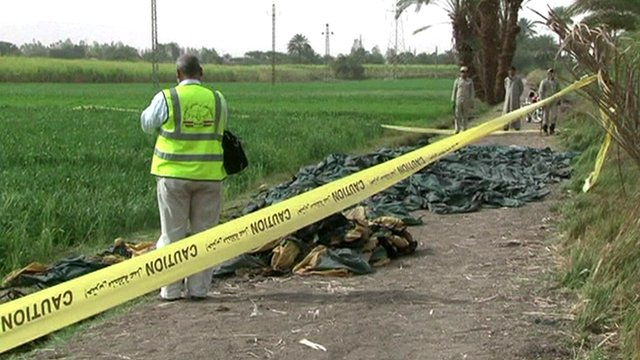 Officials near crash scene