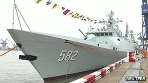 Chinese Type 056 stealth frigate at dock in Shanghai