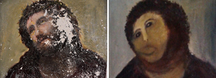 The original and the &quot;restored&quot; version of a fresco by Elias Garcia Martinez