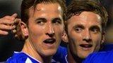 Harry Kane celebrates his Leicester goal