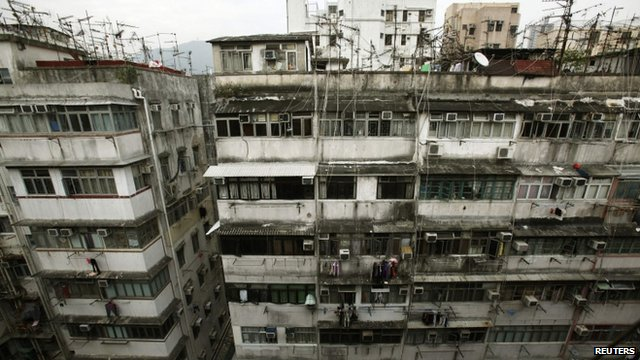 Cramped housing in Hong Kong