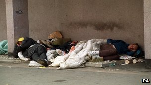Homeless people sleeping rough